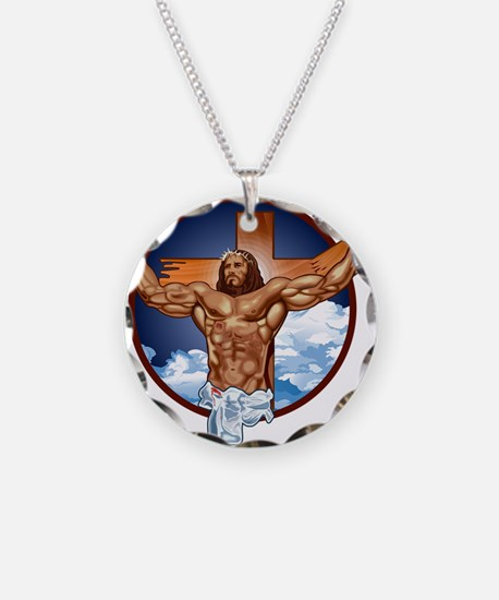 Strong Jesus Necklace Circle Charm