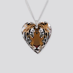 Tiger Necklace Heart Charm