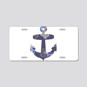 Floral anchor Aluminum License Plate