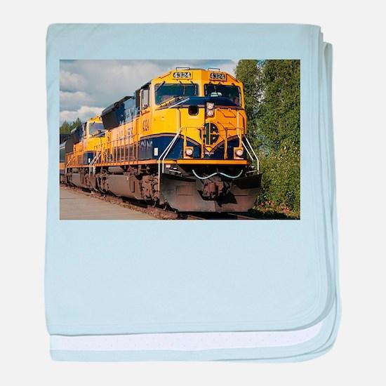 Alaska Railroad engine baby blanket