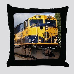 Alaska Railroad engine Throw Pillow