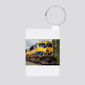 Alaska Railroad engine Aluminum Photo Keychain