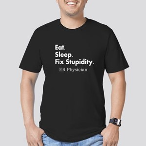 Eat sleep ER Doc Men's Fitted T-Shirt (dark)