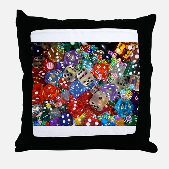Lets Roll - Colourful Dice Throw Pillow