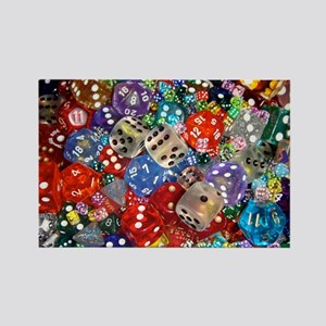 Lets Roll - Colourful Dice Rectangle Magnet