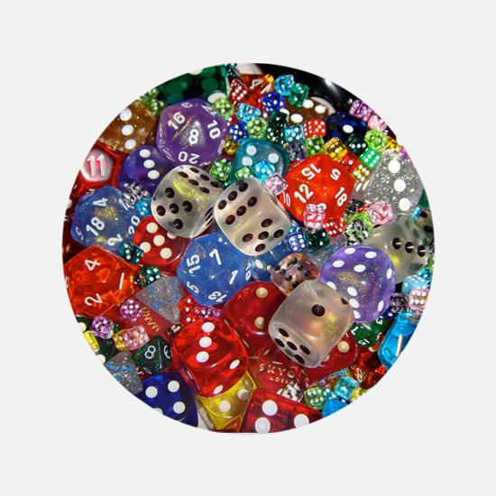 """Lets Roll - Colourful Dice 3.5"""" Button"""