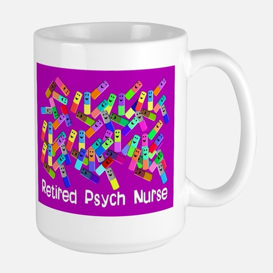 Retired Psych Nurse FUSCHIA LARGE.PNG Large Mug