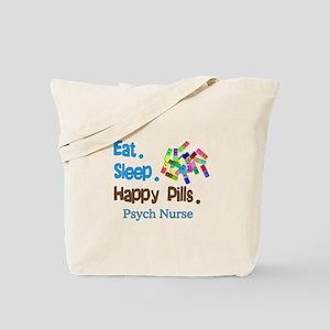 Eat Sleep Happy Pills blue brown LARGE Tote Ba