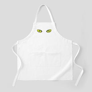 Yellow green cat eyes - halloween Apron