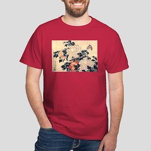 Hokusai Peonies and Butterfly Dark T-Shirt