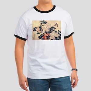 Hokusai Peonies and Butterfly Ringer T