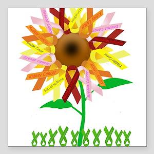 "Cancer Ribbon Sunflower Square Car Magnet 3"" x 3"""