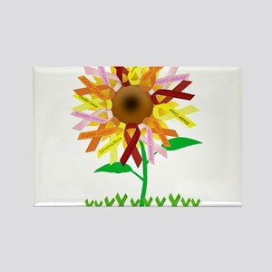 Cancer Ribbon Sunflower Rectangle Magnet