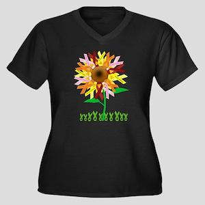 Cancer Ribbon Sunflower Women's Plus Size V-Neck D