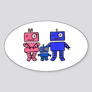 Robot Family Sticker (Oval)