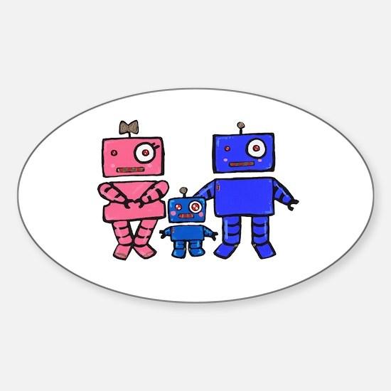 Robot Family Sticker (Oval)
