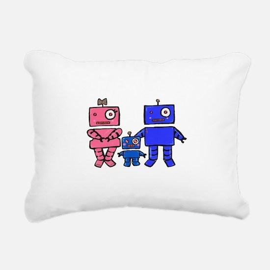 Robot Family Rectangular Canvas Pillow