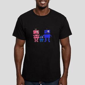 Robot Family Men's Fitted T-Shirt (dark)