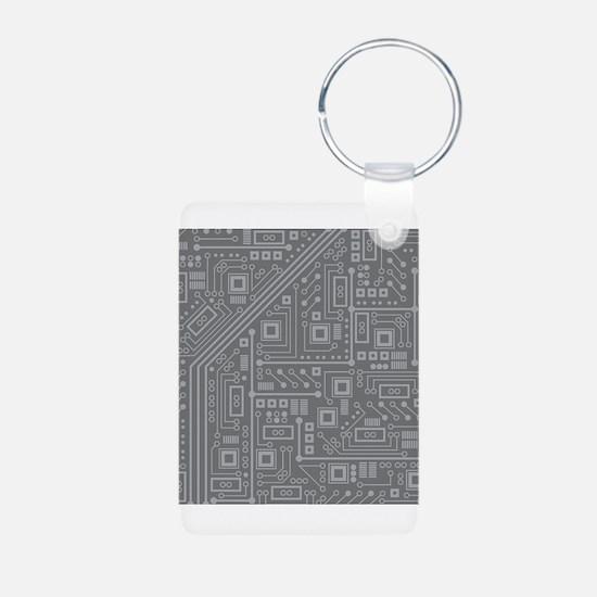 Gray Circuit Board Keychains