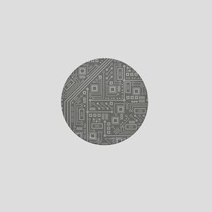 Gray Circuit Board Mini Button