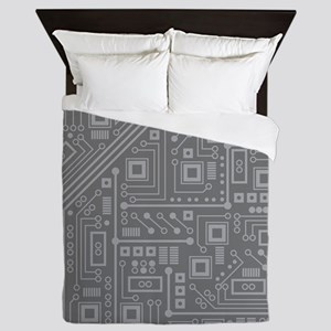 Gray Circuit Board Queen Duvet