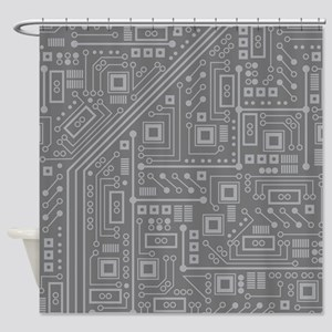 Gray Circuit Board Shower Curtain