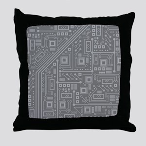 Gray Circuit Board Throw Pillow