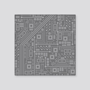 "Gray Circuit Board Square Sticker 3"" x 3"""