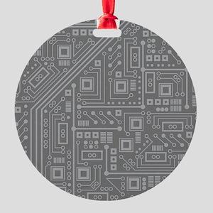 Gray Circuit Board Round Ornament