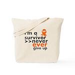 Never Give Up Leukemia Tote Bag