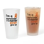 Never Give Up Leukemia Drinking Glass