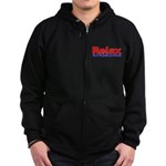 Relax - red white blue Zip Hoodie (dark)