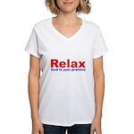 Relax - red white blue Women's V-Neck T-Shirt