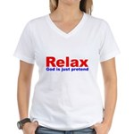 Relax - red white blue Women's V-Neck T-Shirt