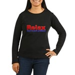 Relax - red white blue Women's Long Sleeve Dark T-