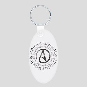 Atheist Circle Logo Aluminum Oval Keychain