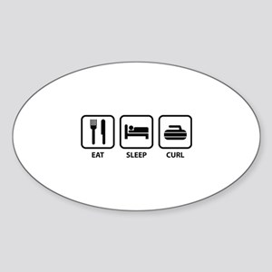 Eat Sleep Curl Sticker (Oval)