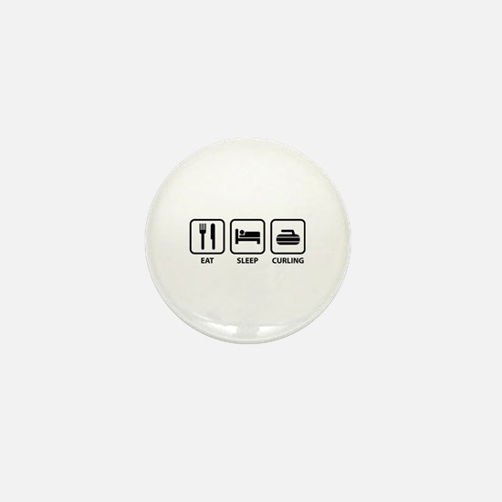 Eat Sleep Curling Mini Button