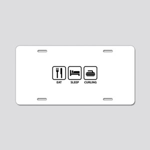 Eat Sleep Curling Aluminum License Plate
