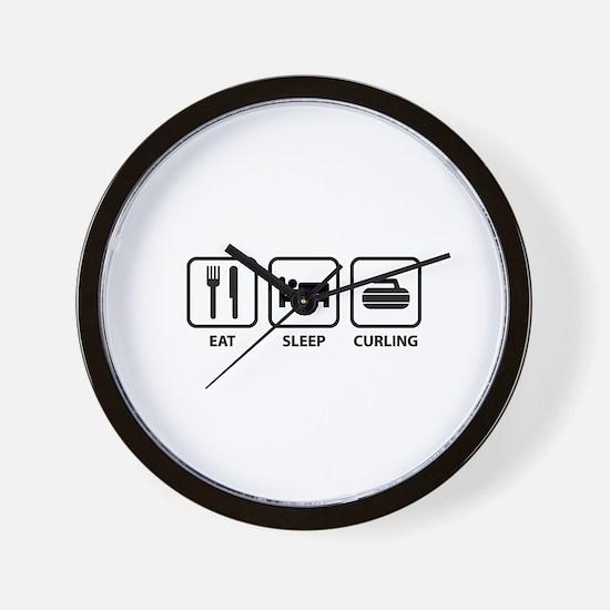 Eat Sleep Curling Wall Clock
