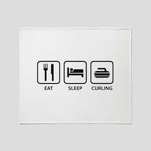 Eat Sleep Curling Throw Blanket