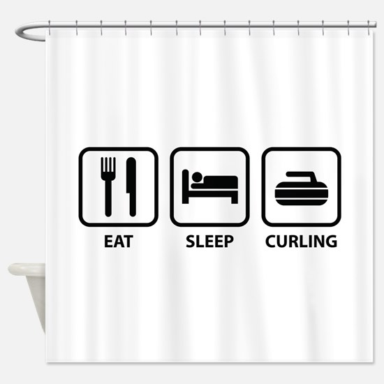 Eat Sleep Curling Shower Curtain