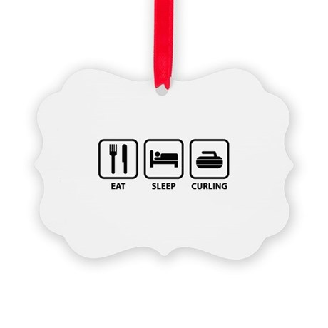 Eat Sleep Curling Picture Ornament