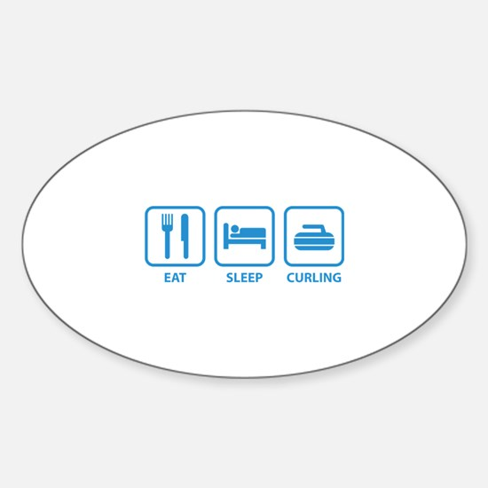 Eat Sleep Curling Sticker (Oval)