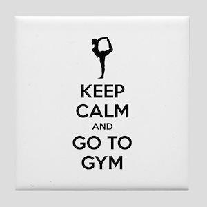 Keep calm and tax go to gym Tile Coaster