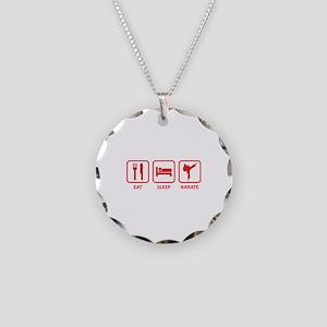 Eat Sleep Karate Necklace Circle Charm
