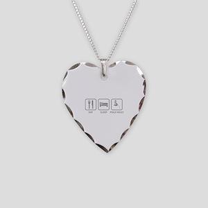 Eat Sleep Pole Vault Necklace Heart Charm