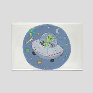 Little Green Alien Rectangle Magnet