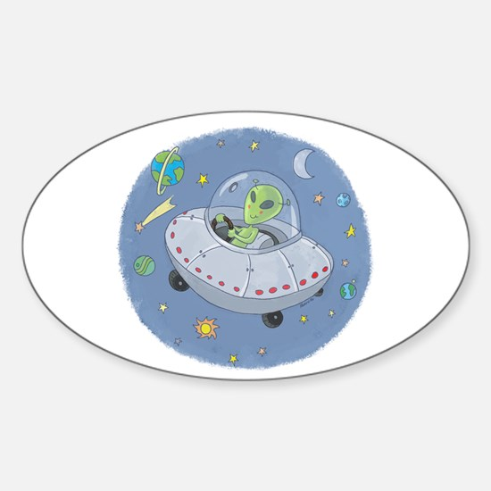 Little Green Alien Oval Decal