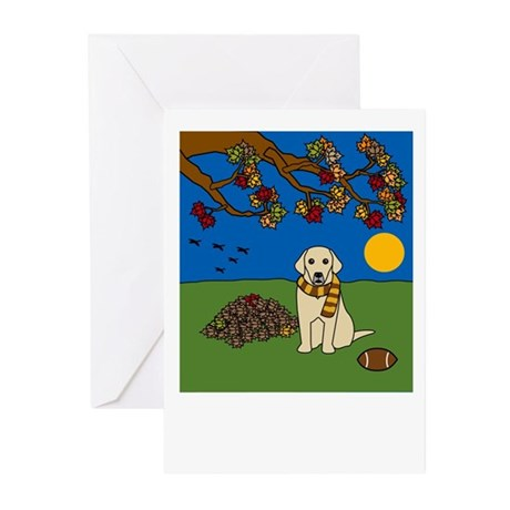 Fall Yellow Lab Greeting Cards (Pk of 10)